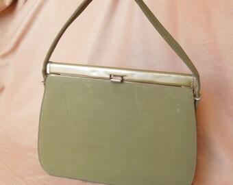 Vintage 60's Olive Green Handbag, Green Purse, Structured Handbag, Top Handle Handbag, Kelly Bag, Rockabilly, Sage Green, Vegan Friendly