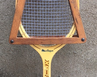 Vintage MacGregor Wooden Tennis Racket with Bracket - Japan