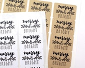 Shop Exclusive - Set of 50 hand lettered MERRY & BRIGHT stickers with garland- holiday stickers for gift tags, Christmas cards, presents