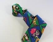 80s Necktie / Colorful Exotic Tie /  Fish Floral Tie /  Cotton Tie / Art Necktie / GOGOVINTAGE