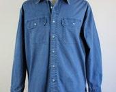 SALE - Vintage L.L. Bean Blue Casual Dress Shirt - Mens Size Large