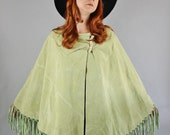 Vintage 90s does 70s Women's Light Spring Green Suede Country Boho Hippie Fringe Cape Coat