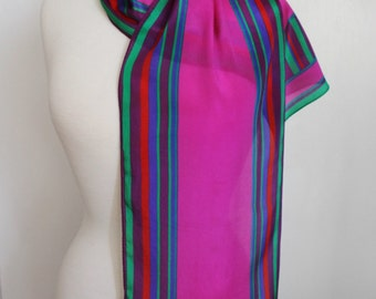Vintage 80s Women's Fuchsia Magenta Royal Blue Green Striped Silk Summer Rectangle Scarf