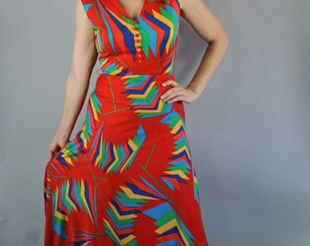 Vintage 70s Women's Rainbow Triangles Geo Mod Modern Design Statement Festival Fashion Spring Summer Maxi Dress Gown