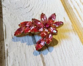 Vintage Pink Rhinestone Pin - Pink Flower Pin - Rhinestone Flower Brooch - Candy Pink Rhinestone Swirl - 1960s Costume Jewelry