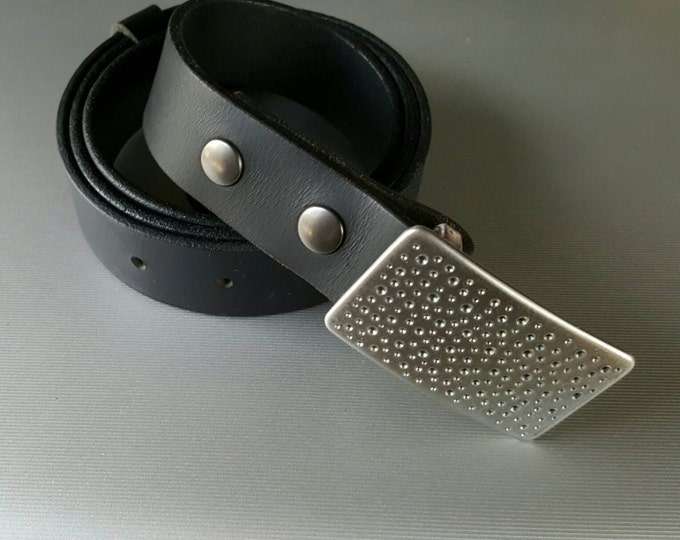 """Gifts for Guys Suit Belt Buckle Groom Groomsmen's Accessories Confetti, Bubbles, Rain Hand Forged Suit Buckle fits 1-1/4"""" Leather Snap Belt"""