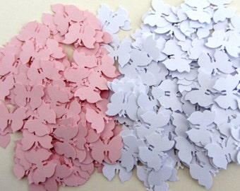 Paper butterfly confetti small light pink and white die cut butterflies wedding table confetti wedding confetti wedding shower confetti