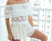 Eyelet Draped Sexy Short In Beige