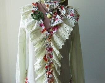 Pale Yellow Eyelet Ruffle Blouse, Upcycled Recycled Clothing, Shabby Chic Shirt, Mori Girl Clothing, Tattered Ruffle Tops, Romantic Clothing