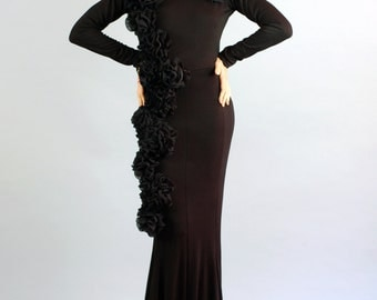 Women's Florence Long Maxi Gown with Rosette Flower Detail