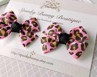 Pink Leopard Hair Bow, Animal Print Hair Bow, Baby Hair Bow, Toddler Hair Bow, Children Hair Barrette, Little Girl Hair Accessory