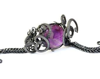 Amethyst Bracelet, Boho Bracelet, Stone Bracelet, Stone Silver Bracelet, Chain Bracelet, Chainmaille Bracelet, Boho Chic, Amethyst Jewelry