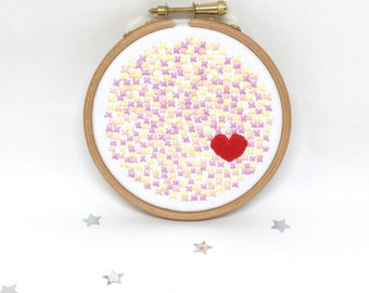 Hand Embroidery Hoop Art . Original In The Hoop Embroidered Picture. Love & Kisses. 4x4 inch hoop art. White with Pastels Modern Abstract