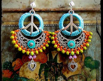 PEACE Indie earrings BOHO Heart earrings YOGA Shanti Love Turquoise Macrame Bikini jewelry Colorful Summer Festival Oriental jewelry GPyoga