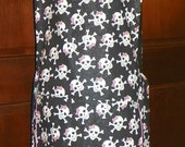 Kitchen Cobbler Lined Apron Smock Glitter Skulls and Bones Handmade for Kitchen Cooking Craft Activities Excellent Clothes Protector