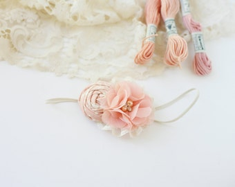 Blush Rush- blush pink and ivory rosette and chiffon flower headband bow with lace