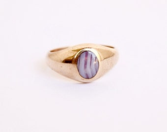 Antique 9k Gold Ring With Banded Agate with English Hallmarks c.1900