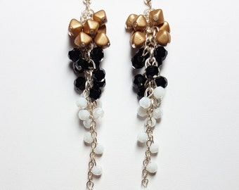 Gold Black White Cascade Earrings | Color Block Earrings