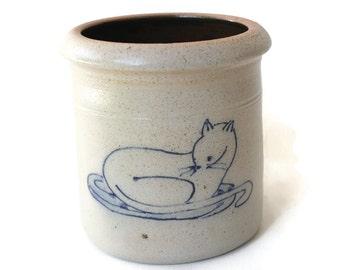 Little Kitty Salt Glazed Open Crock from Rowe Pottery Works Cambridge Wisconsin - 1990