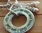 Be still and know that I am God... 13/16 in. silver washer pendant