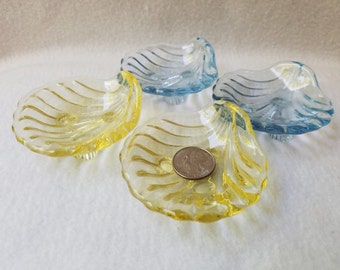 Tinted Glass Scallop Shell Nut Dishes - set of 4 (2 yellow, 2 blue)