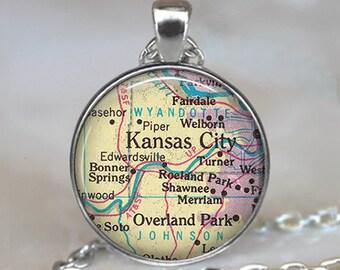 Kansas City necklace, Kansas City pendant, Overland Park pendant, map jewelry, map necklace, map jewellery key chain key fob