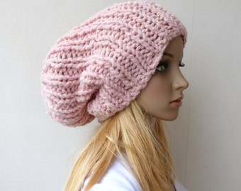 Pink Knit hat Chunky Beanie Hat Slouchy Beanie Pink Slouch hat