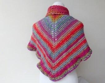 Pink Knit shawl Triangle knit Shawl  Hand knit scarf Colourful Shawl Knit Poncho