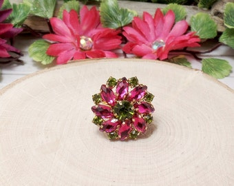 Pink Rhinestone Flower Ring, Rhinestone Ring, Button Ring - Clearance