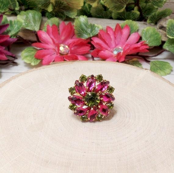 Pink Rhinestone Flower Ring - Rhinestone Ring - Button Ring