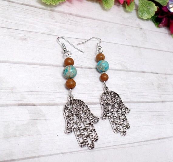 Hamsa Hand Earrings - Jasper Earrings - Gemstone Earrings - Hamsa Dangle Earrings - Hamsa Jewelry - Free US Shipping