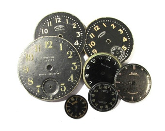 VINTAGE Watch Clock Parts Face Plates Seven (7) Cardboard Paper Metal Watch Faces STEAMPUNK Watch Face Plates Jewelry Art Supplies (G198)
