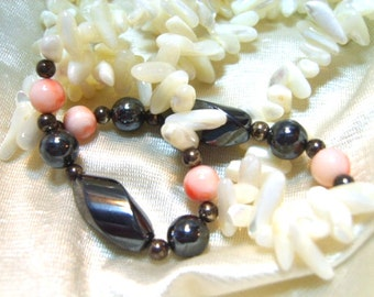 Beaded Vintage Necklace Mother of Pearl Hematite Angel skin Coral Vintage Jewelry