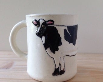 Cow Mug | dairy farm cow coffee mug tea cup | black and white with green interior | in stock