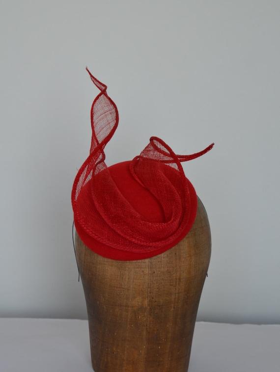 Red pillbox Hat - All Year Round Womens Accessory -  Felt Fascinator - Mini Hat