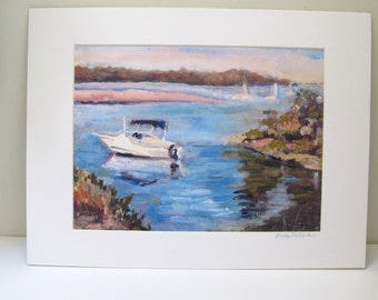 """Matted Print Of Oil Painting """"Quiet Over Cold Spring Harbor """"  8x 10 Inch Print , With a 11x 14 Inch Mat"""