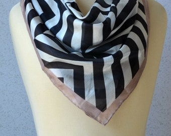 Vintage silk square scarf: Herringbone, black and white, pale pink, modern, stripes