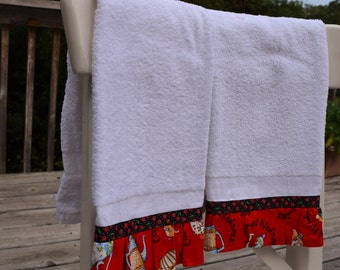 Coffe and tea pot trimmed white towels set of 2 kitchen tea dish hand guest towel