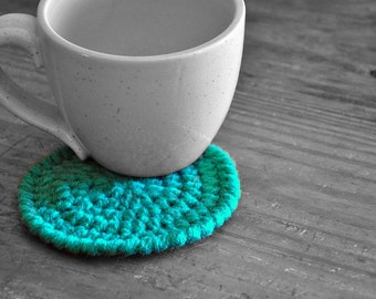 Jade Coasters Modern Mug Rugs Home Decor Rustic Design Crocheted Accessories Custom Colors