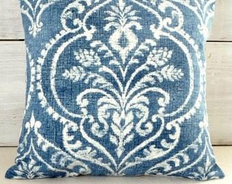 Denim Blue Damask Pillow Cover - Blue Throw Pillow  - Shabby Cottage - Farmhouse - Beach