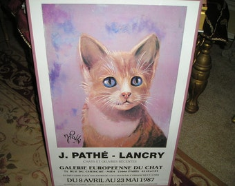 Vintage French J.Pathe-Lancry Original Cat/Feline Picture/Poster from Galerie Europeenne Du Chat Paris..