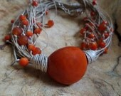 Orange Tagua Nut Necklace, Linen Necklace, Unique Necklace, Tagua Nut Beads, Natural Necklace, Linen Cord