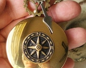 Steampunk Compass Necklace Compass Rose  C  3-1