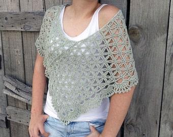 Summer Poncho, Crochet Poncho, Loose Summer Poncho, Linen Poncho, Womens Knit Wrap, Green Loose Poncho, Summer Knit Poncho, Beach Boho Cover