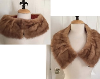 Vintage  Mink Collar with Pleats, Satin Lining, Wear 2 ways