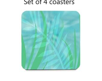 Drink coasters, set of 4, coaster set, tropical leaves, aqua coasters, cork back coasters, housewarming gift, hostess gift, table decor
