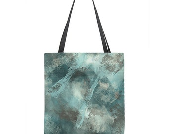 Teal tote bag, abstract art, painterly tote, teal and gray, large tote, small tote, gift for him, gift for her, modern tote bag