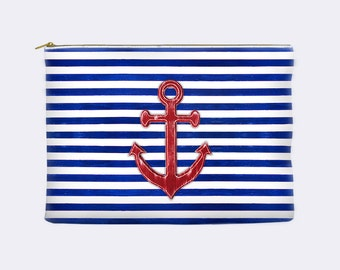Nautical Makeup Bag, anchor cosmetic bag, toiletry bag, striped makeup bag, make up bag, large cosmetic bag, zippered pouch, small clutch
