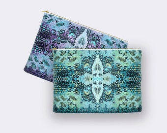 Boho pencil case, bohemian makeup bag, large cosmetic bag, toiletry bag, pencil pouch, zippered pouch, cosmetic pouch, small clutch