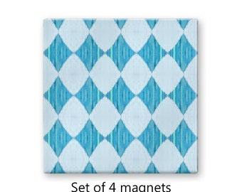 Diamond pattern fridge magnets, blue magnet set , refrigerator magnets, set of 4 decorative magnets, pastel kitchen decor, art magnets